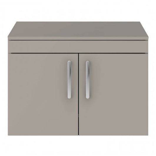 Mantello 800mm Wall Hung 2-Door Countertop Vanity Unit - Stone Grey