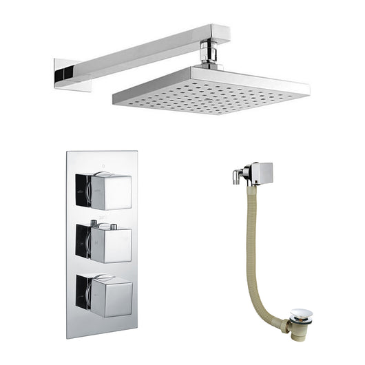 ShowerWorX Triple Thermostatic Valve with Square Shower Head & Bath Overflow Filler