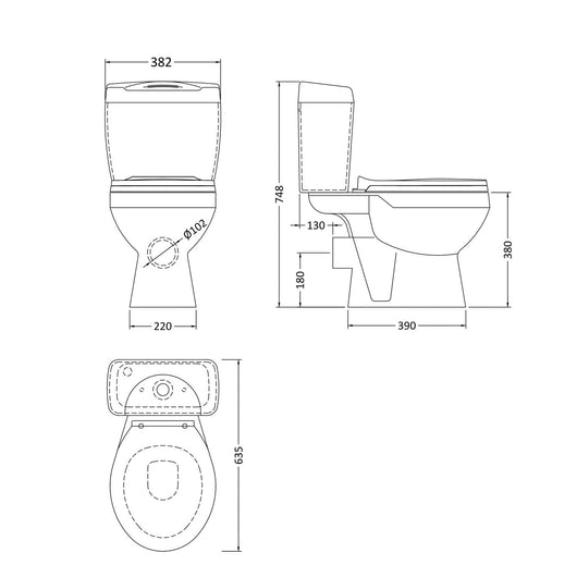 Alpha Close Coupled Toilet & Seat