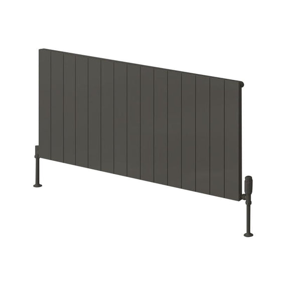 Reina Casina Single Horizontal Aluminium Radiator 600 x 1420 - Anthracite - welovecouk