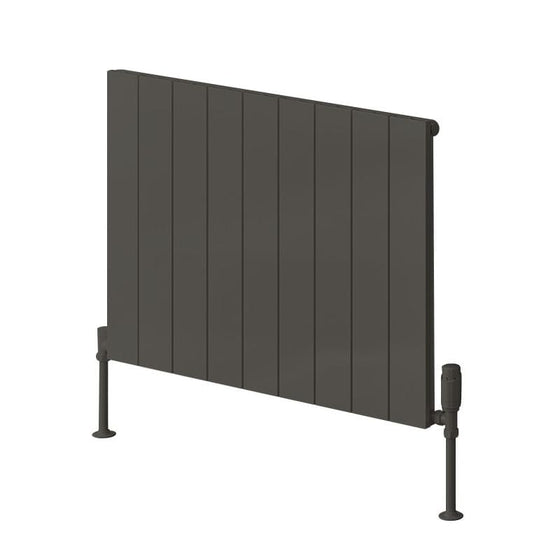 Reina Casina Single Horizontal Aluminium Radiator 600 x 850 - Anthracite - welovecouk