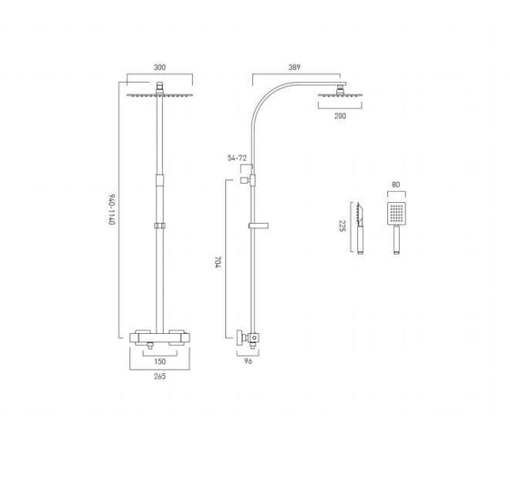 Vado Aquablade Square Shower Column