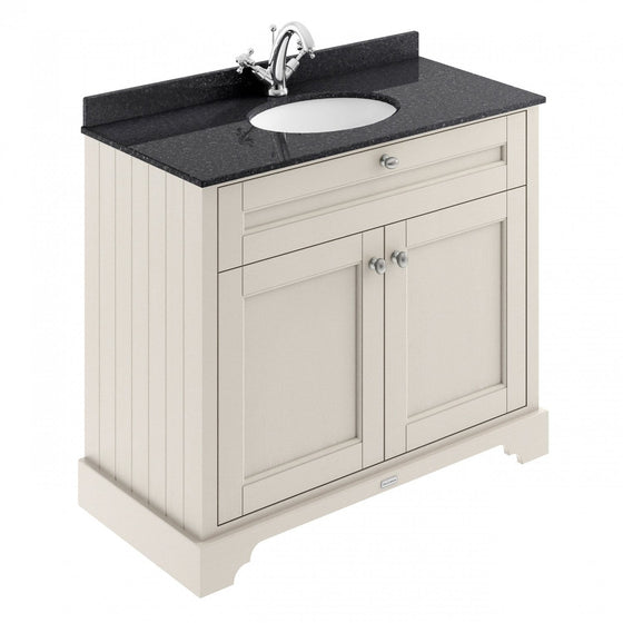 Old London 1000mm 2-Door Vanity Unit & Single Bowl Black Marble Top 1 Tap Hole - Timeless Sand - welovecouk