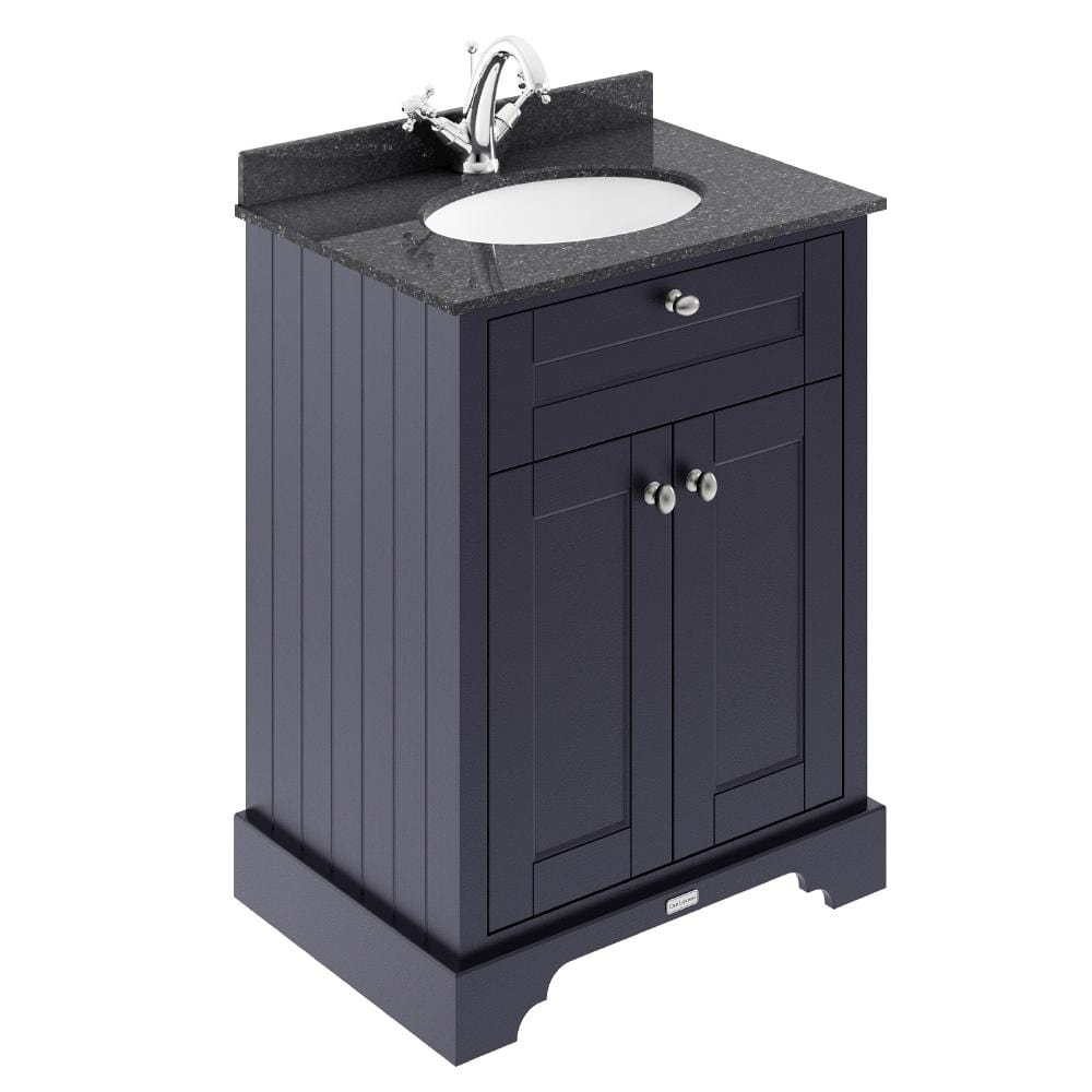 Old London 600mm 2-Door Vanity Unit & Single Bowl Black Marble Top 1 Tap Hole - Twilight Blue