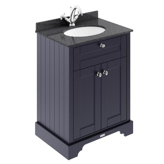 Old London 600mm 2-Door Vanity Unit & Single Bowl Black Marble Top 1 Tap Hole - Twilight Blue - welovecouk