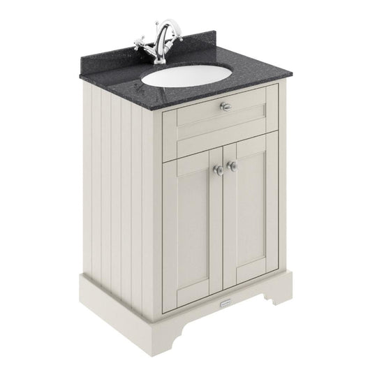 Old London 600mm 2-Door Vanity Unit & Single Bowl Black Marble Top 1 Tap Hole - Timeless Sand - welovecouk