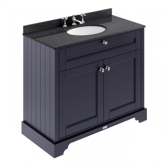 Old London 1000mm 2-Door Vanity Unit & Single Bowl Black Marble Top 3 Tap Hole - Twilight Blue - welovecouk