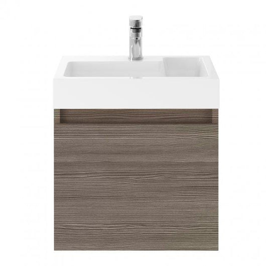 Mura Wall Hung 1-Door Vanity Unit L-Shaped Basin 500mm - Brown Grey Avola