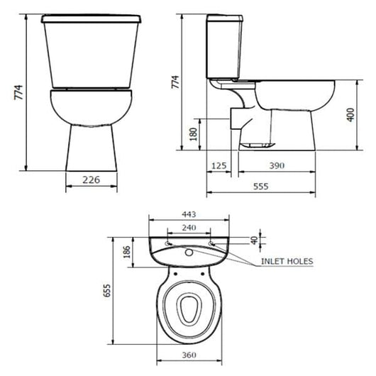 Orbit Close Coupled Toilet with Dual Flush Cistern - Premium Soft Close Seat - welovecouk