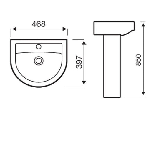 Scale 1 Tap Hole 460mm Basin & Full Pedestal
