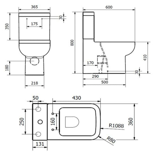 Options Close Coupled Back To Wall Toilet, Cistern & Soft Close Seat
