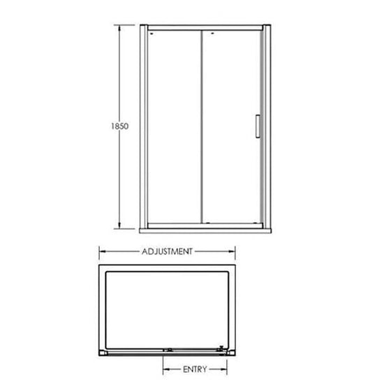 ShowerWorX Atlantic 1100mm Sliding Shower Door - welovecouk