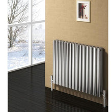 Reina Nerox Double Horizontal Steel Radiator 600 x 1003 - Brushed - welovecouk
