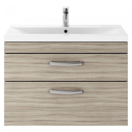 Mantello 800 Wall Hung 2-Drawer Basin Vanity Unit- Driftwood