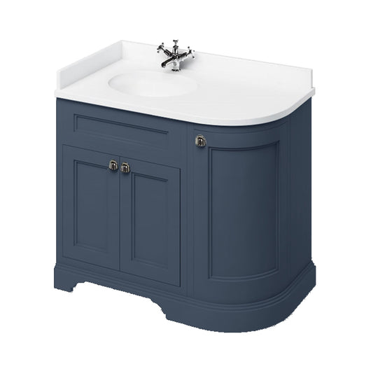 Burlington 1000mm Left Hand Corner Vanity Unit with Minerva Worktop - Blue