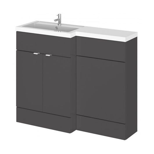 Siena 1100mm Vanity & WC Set with Square Pan - Gloss Grey