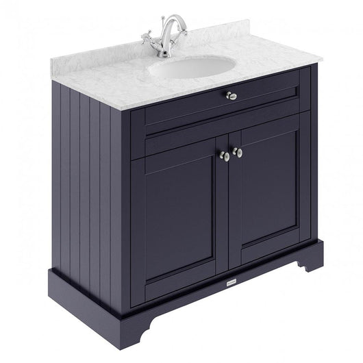 Old London 1000mm 2-Door Vanity Unit & Single Bowl Grey Marble Top 1 Tap Hole - Twilight Blue - welovecouk