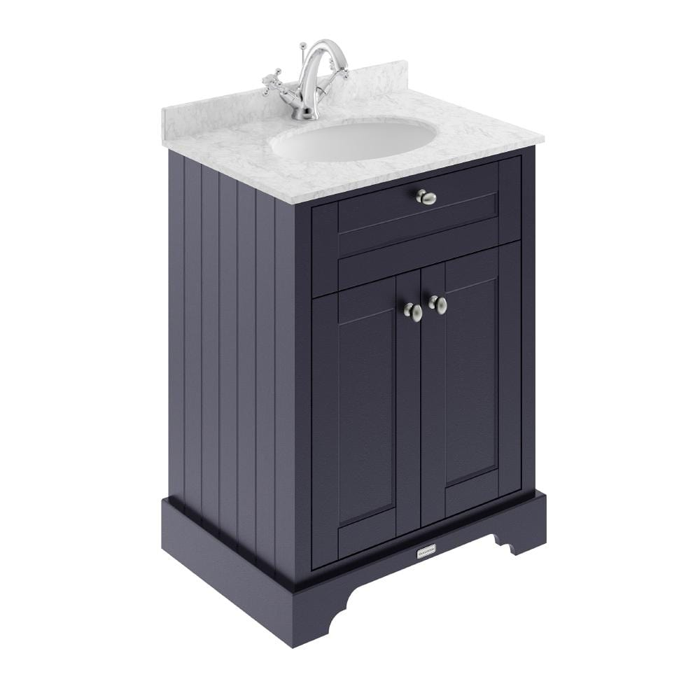 Old London 600mm 2-Door Vanity Unit & Single Bowl Grey Marble Top 1 Tap Hole - Twilight Blue