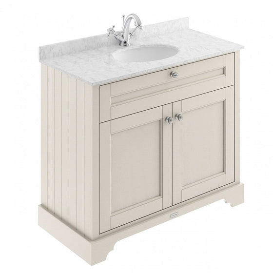 Old London 1000mm 2-Door Vanity Unit & Single Bowl Grey Marble Top 1 Tap Hole - Timeless Sand - welovecouk