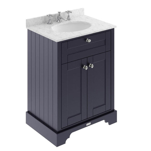 Old London 600mm 2-Door Vanity Unit & Single Bowl Grey Marble Top 3 Tap Hole - Twilight Blue - welovecouk
