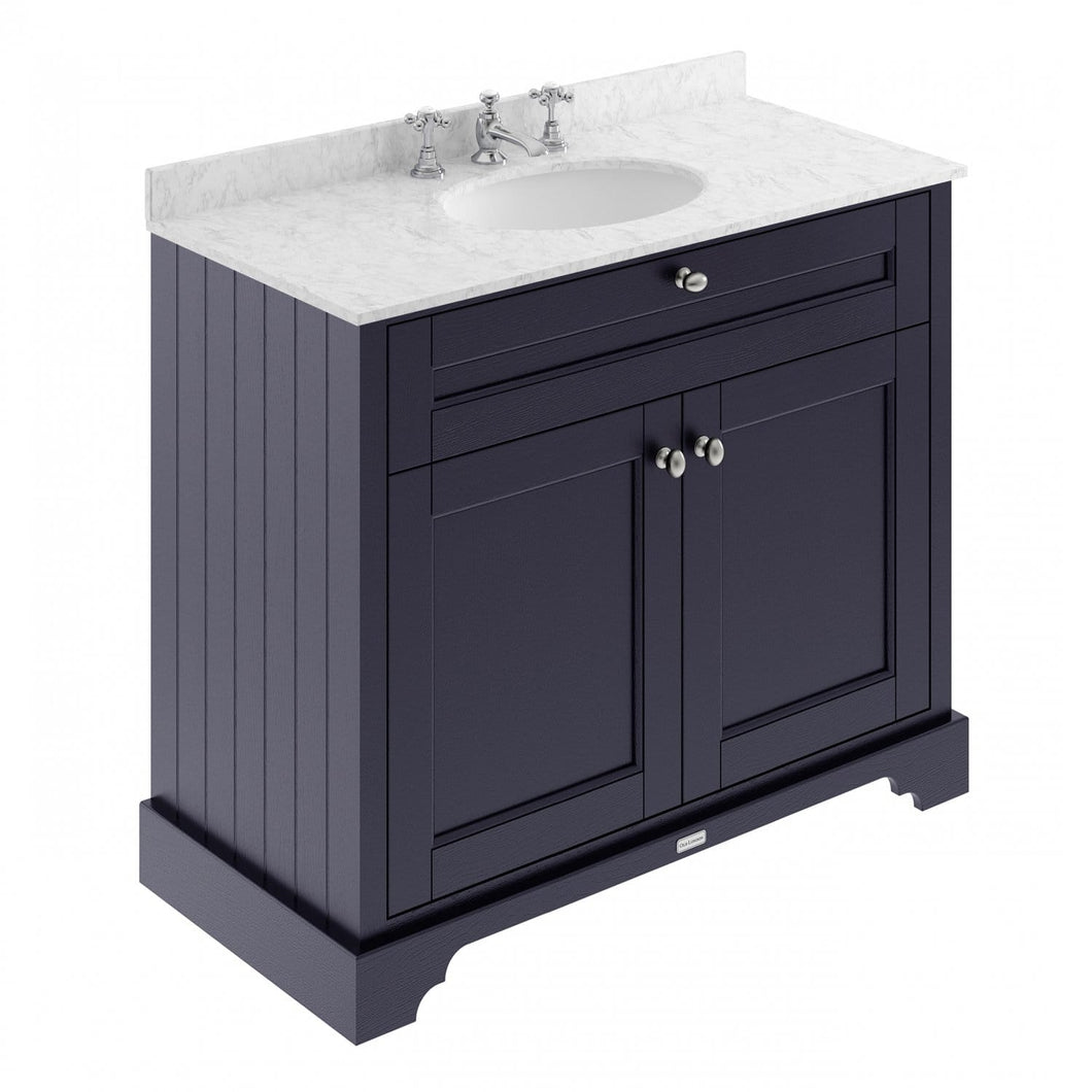 Old London 1000mm 2-Door Vanity Unit & Single Bowl Grey Marble Top 3 Tap Hole - Twilight Blue