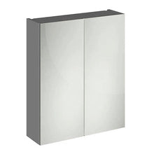 600mm 2-Door Wall Mounted Mirrored Cabinet - Grey - welovecouk