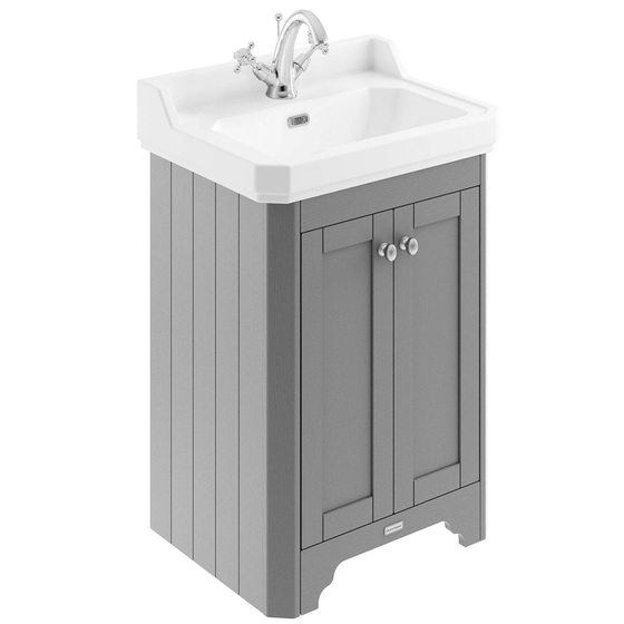 Old London 595Mm 2-Door Vanity Unit & Ceramic 1 Tap Hole Basin - Storm Grey Units