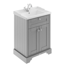 Old London 600Mm 2-Door Vanity Unit & Ceramic 1 Tap Hole Basin - Storm Grey Units