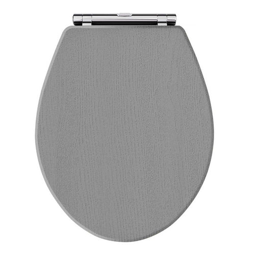 Old London Wooden Toilet Seat Chrome Hinges - Storm Grey - welovecouk