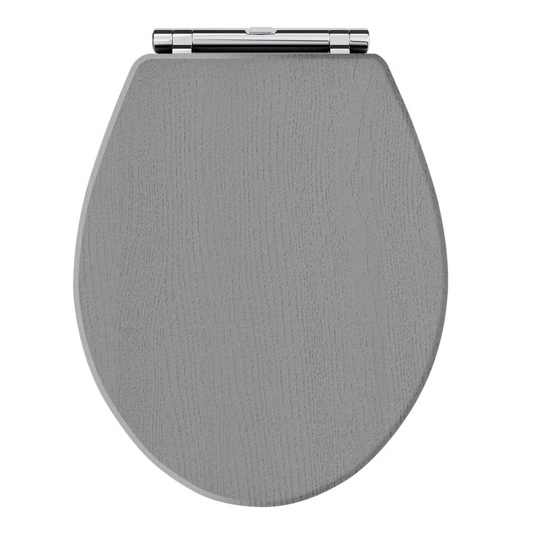 Old London Wooden Toilet Seat Chrome Hinges - Storm Grey