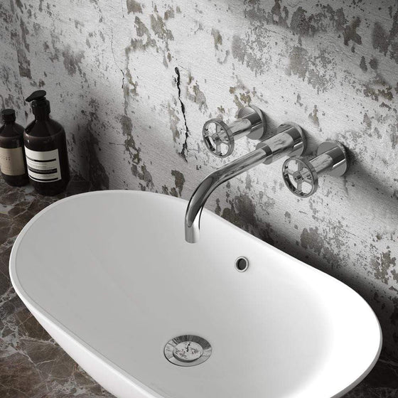 Hudson Reed Revolution Industrial 3TH Wall Mounted Basin Mixer - welovecouk