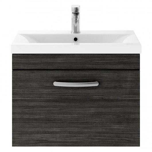Mantello 600mm Wall Hung Single Drawer Basin Vanity Unit - Hacienda Black