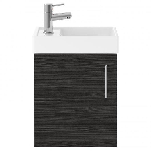 Vault 400mm Wall Hung 1-Door Vanity Unit with Basin - Hacienda Black