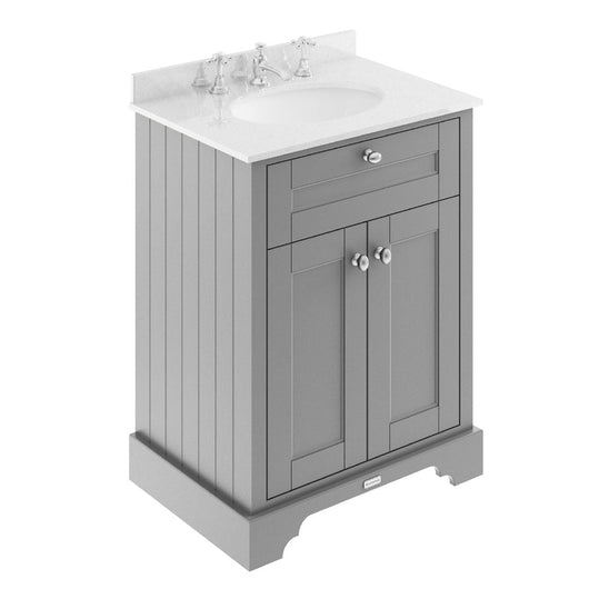 Old London 600mm 2-Door Vanity Unit & Single Bowl White Marble Top 3 Tap Hole - Storm Grey - welovecouk