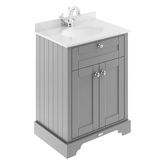 Old London 600mm 2-Door Vanity Unit & Single Bowl White Marble Top 1 Tap Hole - Storm Grey - welovecouk