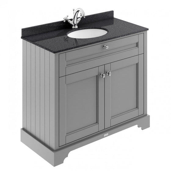 Old London 1000mm 2-Door Vanity Unit & Single Bowl Black Marble Top 1 Tap Hole - Storm Grey - welovecouk