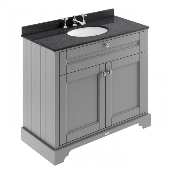 Old London 1000mm 2-Door Vanity Unit & Single Bowl Black Marble Top 3 Tap Hole - Storm Grey - welovecouk