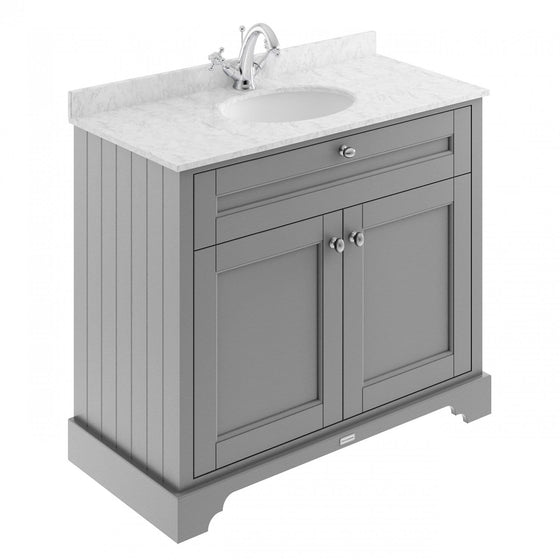 Old London 1000mm 2-Door Vanity Unit & Single Bowl Grey Marble Top 1 Tap Hole - Storm Grey - welovecouk
