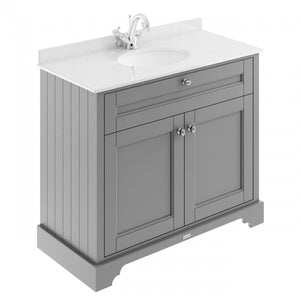 Old London 1000mm 2-Door Vanity Unit & Single Bowl White Marble Top 1 Tap Hole - Storm Grey