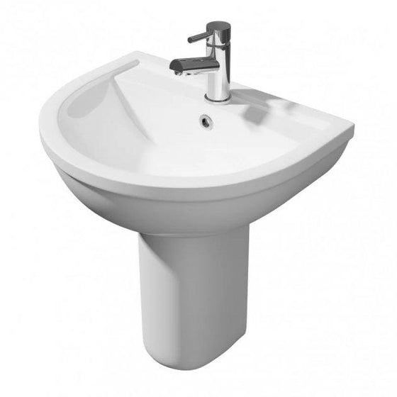 Elegance 1 Tap Hole 550mm Basin & Semi Pedestal