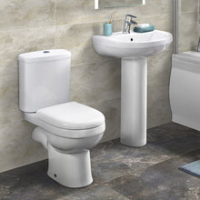 Evo Close Coupled Toilet & 555mm Full Pedestal Basin - welovecouk