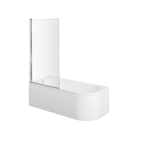 J Shaped 1700 x 750 Left Hand Single Ended Bath, Panel & 6mm Square Bath Screen