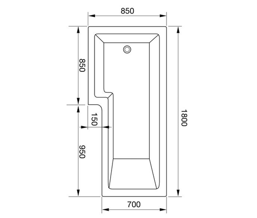 L-Shaped 1800 x 850 Shower Bath - welovecouk