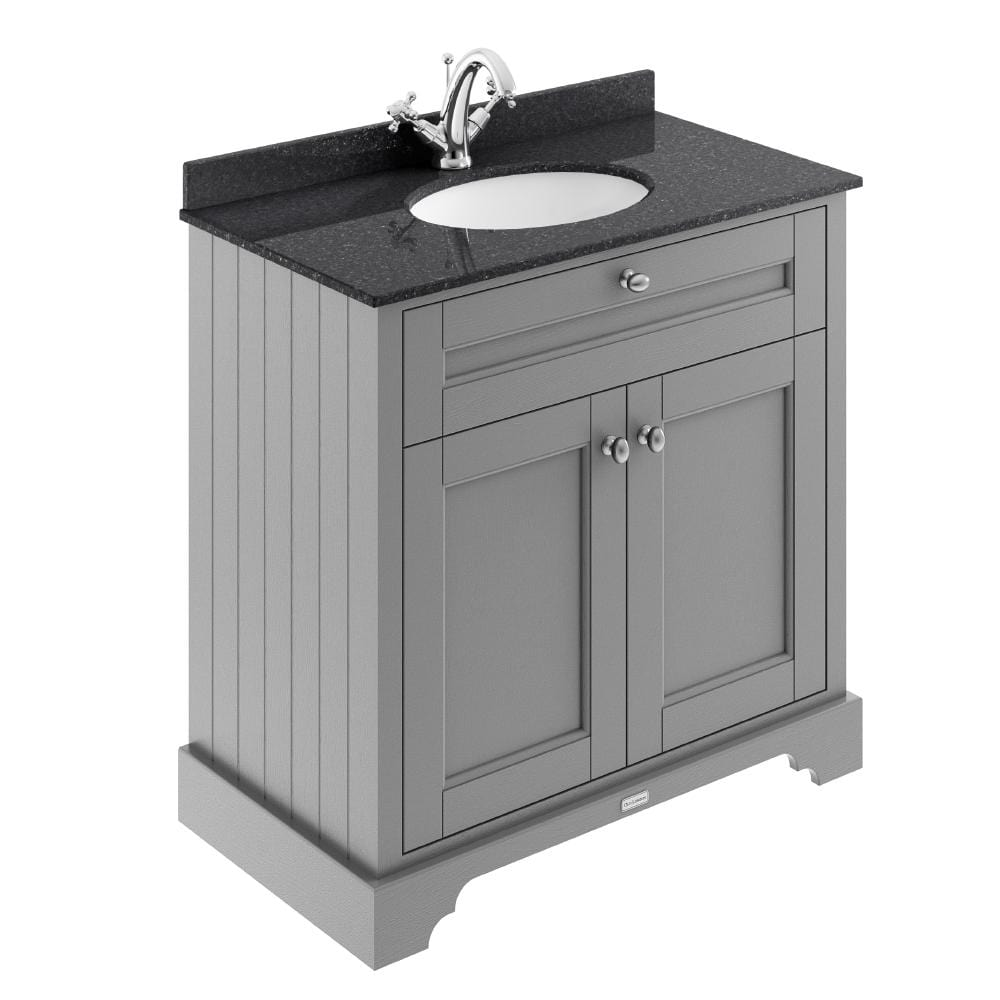 Old London 800mm 2-Door Vanity Unit & Single Bowl Black Marble Top 1 Tap Hole - Storm Grey