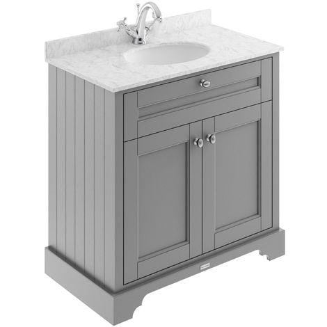 Old London 800mm 2-Door Vanity Unit & Single Bowl Grey Marble Top 1 Tap Hole - Storm Grey - welovecouk