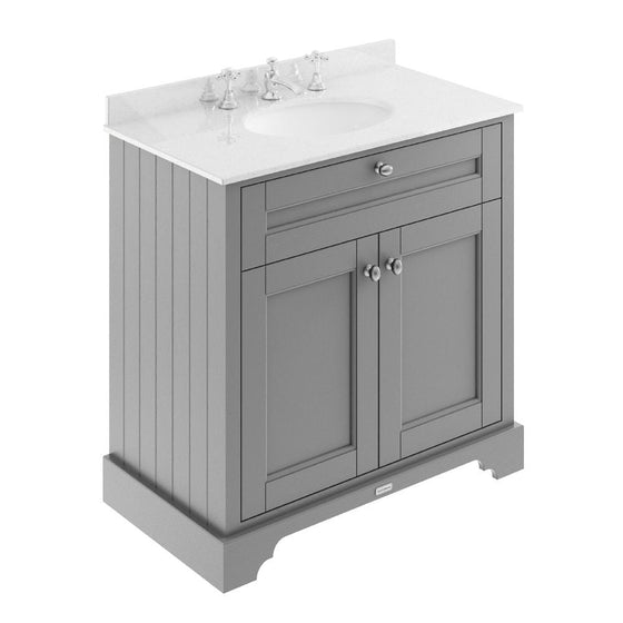 Old London 800mm 2-Door Vanity Unit & Single Bowl White Marble Top 3 Tap Holes - Storm Grey - welovecouk