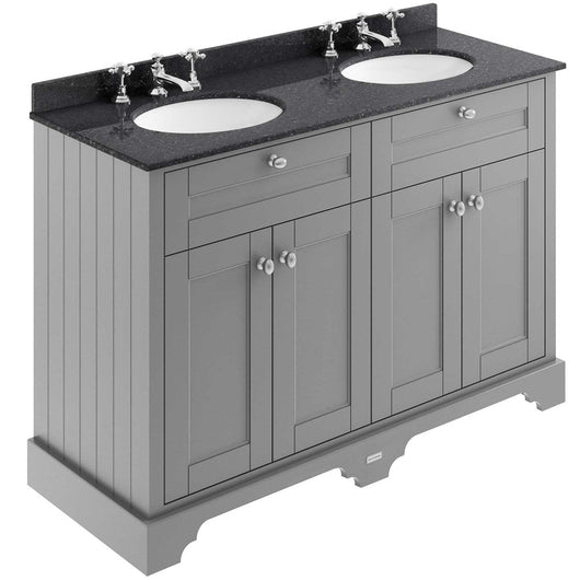 Old London 1200mm 2-Door Vanity Unit & Double Bowl Black Marble Top 3 Tap Holes - Storm Grey - welovecouk