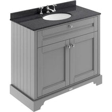 Load image into Gallery viewer, Old London 800mm 2-Door Vanity Unit & Single Bowl Black Marble Top 3 Tap Holes - Storm Grey