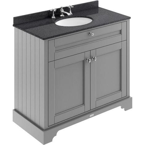 Old London 800mm 2-Door Vanity Unit & Single Bowl Black Marble Top 3 Tap Holes - Storm Grey
