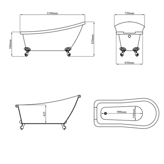 Kings Royal White 1550 Traditional Single Ended Roll Top Slipper Bath C/w Chrome Ball & Claw Feet